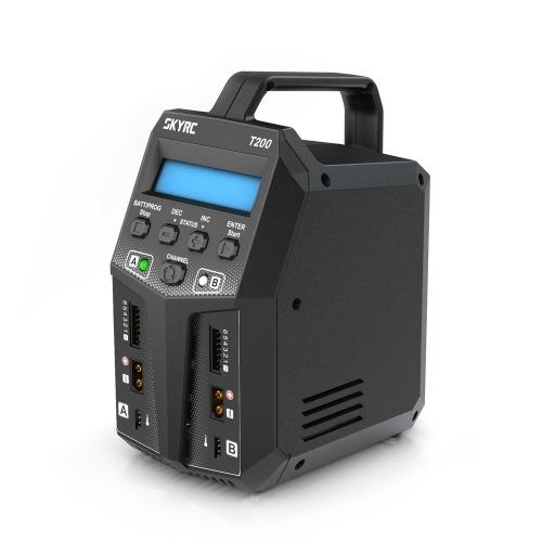 SKYRC T200 Caricatore doppio bilanciamento AC / DC 12A 100W XT60 Spina per batteria LiP Li-ion LiFe NiCd NiMH PB LiHV
