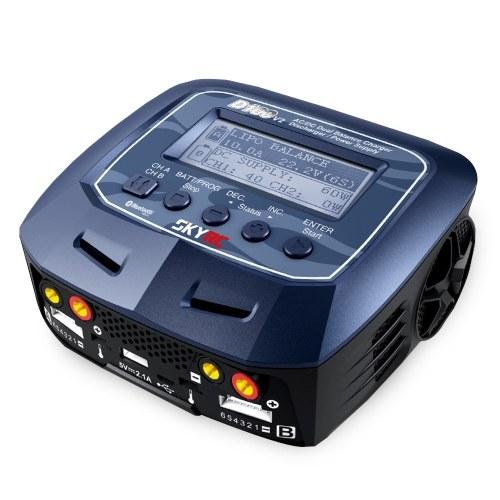 SKYRC D100 V2 AC100-240V DC11-18V Double Balance Chargeur Déchargeur Alimentation Guide Vocal Contrôle De Téléphone Intelligent