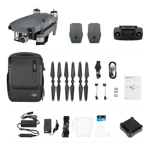 Original DJI Mavic Pro 4K FPV Foldable RC Drone Quadcopter Fly More Combo with Two Extra Batteries Car Charger Shoulder Bag
