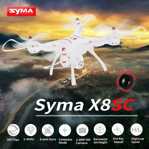 Syma X8SC 2.4G 4CH 6 axes RC Quadcopter RTF Drone avec caméra HD 2.0MP Baromètre Hauteur réglée