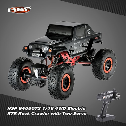 HSP 94680T2 1/18 2.4Ghz 3CH 4WD Electric Powered Brushed Motor RTR Rock Crawler RC Car with Two Servo