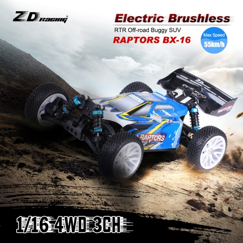 Original ZD Racing RAPTORS BX-16 1/16 4WD Electric Brushless RTR Off-road Buggy SUV with 2.4G 3CH Remote Control