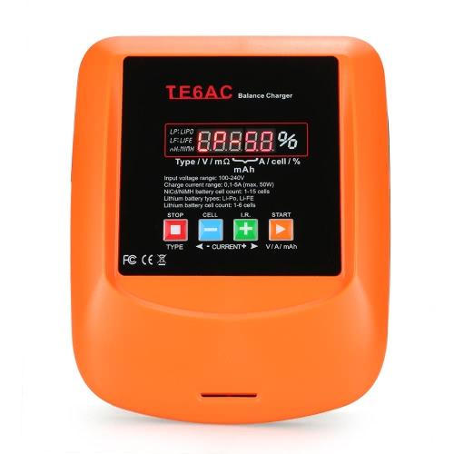 TE6AC Cargador de carga profesional Max 50W 5A AC / DC para 1S-6S Batería LiPo / LiFe 1S-15S NiMH