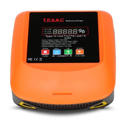 TE6AC Max 50W 5A AC / DC caricatore dell'equilibrio professionale per 1S-6S LiPo / LiFe 1S-15S batteria NiMH
