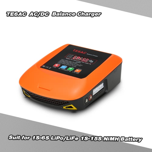 TE6AC Max 50W 5A AC/DC Professional Balance Charger for 1S-6S LiPo/LiFe 1S-15S NiMH Battery
