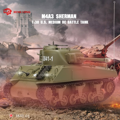Original-HENG LONG 3841-01 30.01 27MHz US Medium Tank M4A3 SHERMAN RC Kampfpanzer mit Licht und Sounds