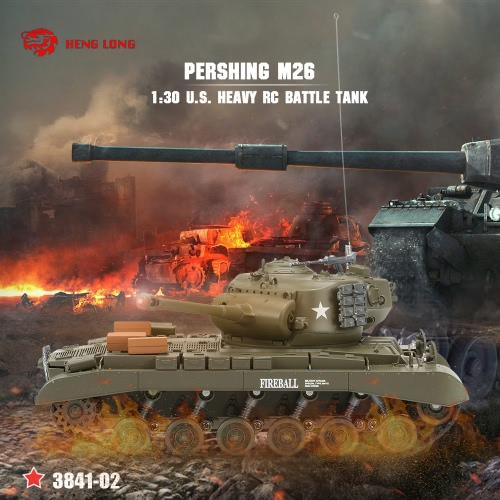 Originale Heng Long 3841-02 1/30 27MHz US PERSHING M26 carro armato pesante RC Tank Battle con luci e suoni