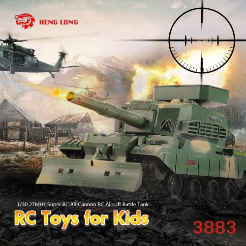 HENG LONG 3883 Super RC BB Cannon Airsoft Tank 1/30 27MHz  with 6mm BB Bullets Tank RC Toys for Kids