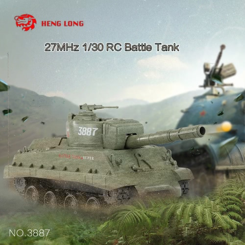 HENG LONG NO.3887 1/30 27MHz Fire Ball Bullet Cannonball Shooting RC Battle Tank