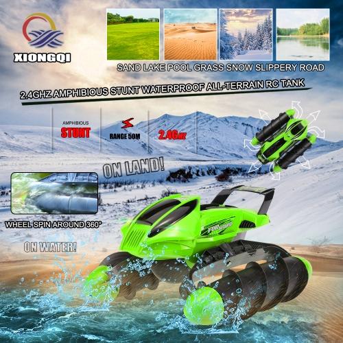 Xiongqi 989-393 2,4 амфибия Stunt Водонепроницаемая Внедорожный Sand Lake Pool Grass Snow гололеда High Speed RC Tank Лодка