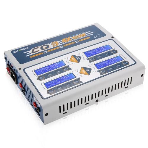 EV-PEAK CQ3 100W 10A 1-6S AC100-240V DC11.0V-18.0V Chargeur Balance avec JST_XH Adaptateur Carte pour LiPo LiFe NiMH NiCd Pb Batterie