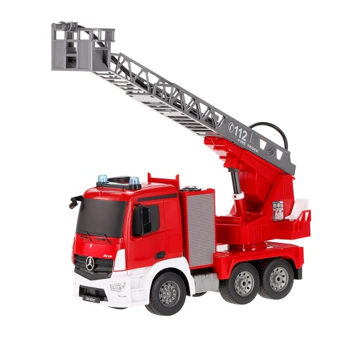 2.4G 1/20 RC Fire Truck RTR Radio Controllo auto LED Spray Water Sound di simulazione