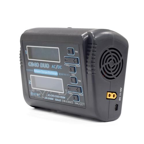 HTRC C240 DUO AC 150W DC 240W Dual Channel 10A RC Cargador de equilibrio Cargador para LiPo LiHV LiFe Lilon NiCd NiMh Pb Batería RC Drone