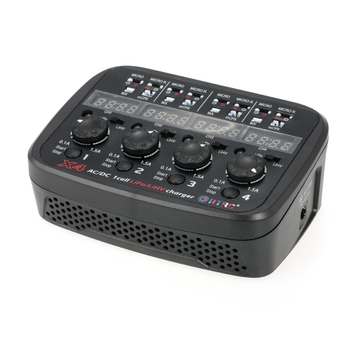 Wielopozycyjna ładowarka HTRC X4 AC / DC dla 1S Lipo Lihv Bateria Micro / Micro Reverse / MX / mCPX Złącze RC Drone