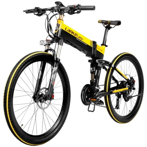 LANKELEISI XT750 Electric Bicycle 400W 20 Inch Folding Power Assist E-Bike 35km/h Top Speed 70 - 100km Range