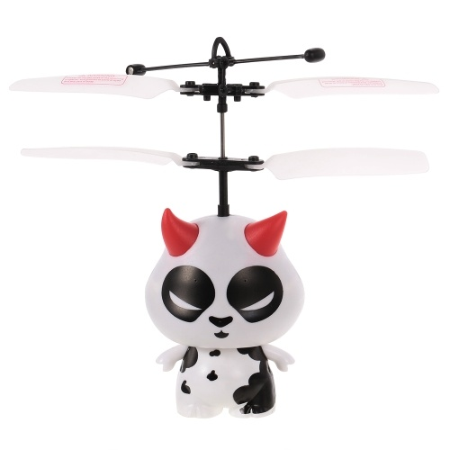 TB-284 Mini Flying Cow Infrared Induction Drone LED Flashing Light Aircraft RC Toy with Remote Controller
