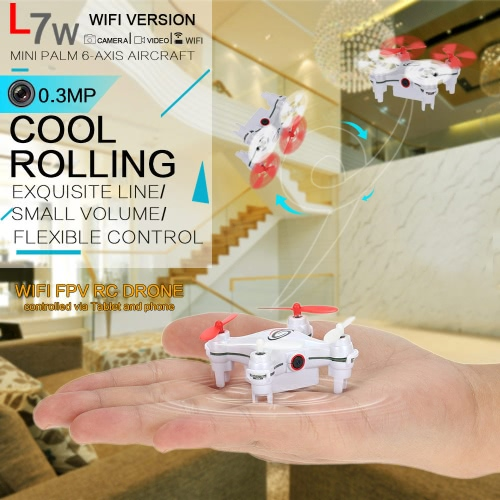 L7W Wifi FPV 2.4G 4CH 6-Axis Gyro RC Mini Quadcopter 0.3MP Camera Drone with 3D Flips