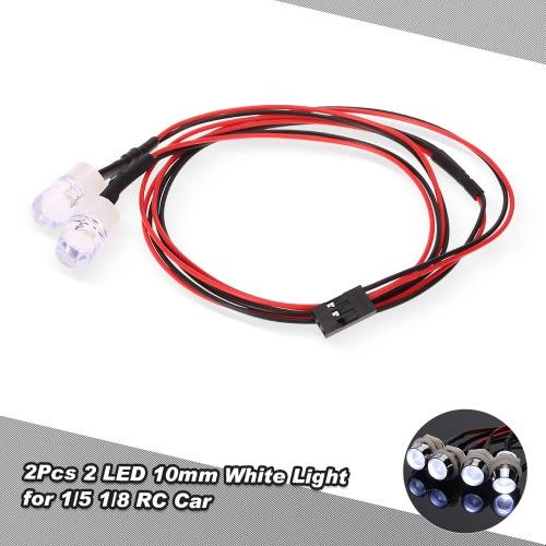 2 pezzi 10 millimetri 2 LED Kit luce bianca fari per 1/5 1/8 Traxxas HSP Redcat RC4WD Tamiya Axial SCX10 D90 HPI RC Auto