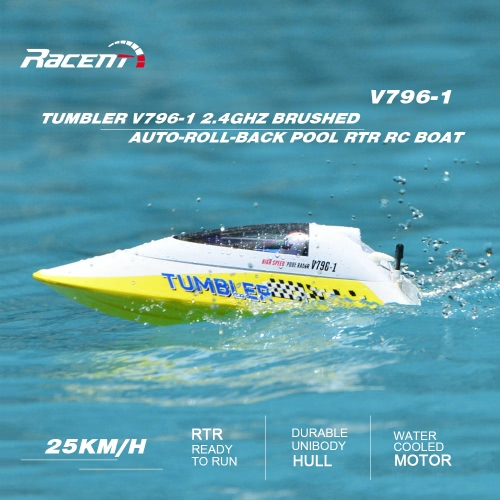 Volantex TUMBLER V796-1 2.4GHz brossé 25 kmh High Speed ​​Auto-roll-back Piscine RTR RC Racing Boat