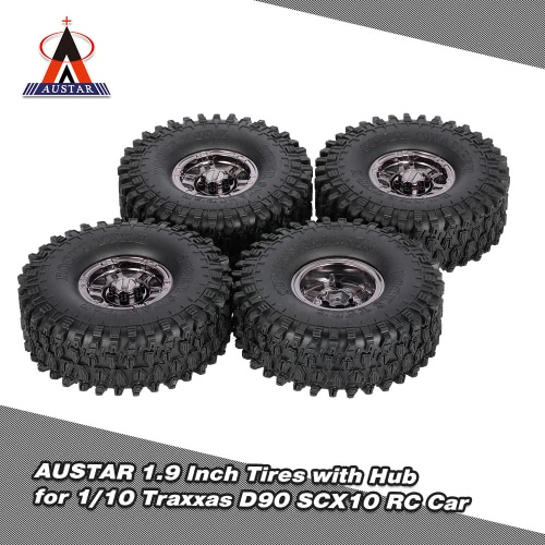 4Pcs AUSTAR AX-5020G 1.9 Inch 120mm Tires with Metal Electroplated Hub for 1/10 Traxxas Redcat SCX10 AXIAL RC4WD TF2 Rock Crawler