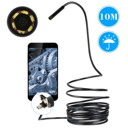 6 LED wasserdicht 2 in 1 Android und PC USB-Endoskop-CCTV-Inspection-Draht-Kamera 10 M