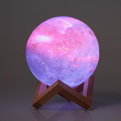 20cm / 7.9in stampa 3D Lampada a stella luna USB a forma di luna da notte a forma di tavolo