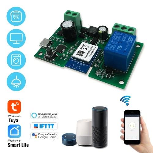 Tuya DC5V 12 V 24 V 32 V Interruptor Wi-fi Sem Fio Módulo de Relé Single-way Inching / Auto-Bloqueio Timing APP Controle Remoto de Controle de Voz Compatível com o Google Home / Nest & Amazon Alexa IFTTT