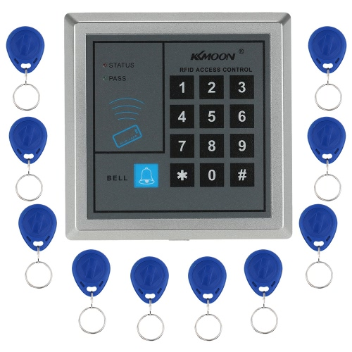 KKmoon® DC12V 125KHz Door Entry Access Control System with Access Reader + 60KG Electric Magnet Lock + Power Supply + Push Button + 1*Remote Controller + 10*RFID Card