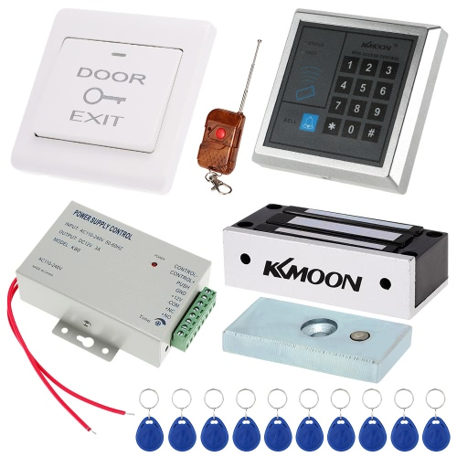 KKmoon® DC12V 125KHz Porta de entrada Sistema de Controle de Acesso com acesso Leitor + 60KG Magnet Lock Elétrica + Alimentação + Botão + 4 * Controle Remoto + 10 * cartão de RFID