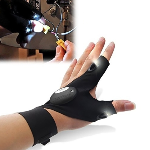 Multifunction Outdoor Sports Wear Gloves Two Fingers with LED Light Night Fishing Left Hand
