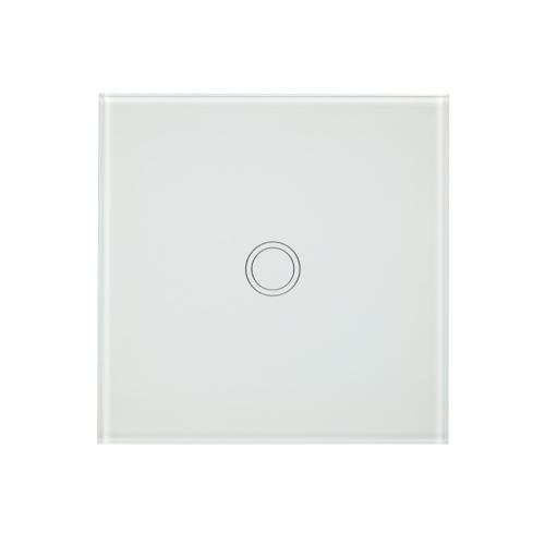 EU / UK Wall Touch Switch Impermeável Retardante de incêndio Poupança de energia Alta sensibilidade Luxo Painel de vidro Painel de toque Single Fire Wire 1 Gang White Panel Automação de casa