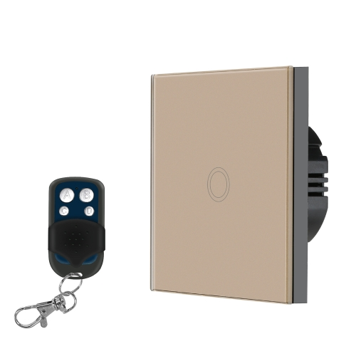 EU/UK Standard Smart Remote Control Wall Touch Switch Waterproof Fire Retardant High Sensitive Luxury Crystal Glass Switch Panel Touch Screen Single Fire Wirewith 433MHz/1527 Remote Controller 1Gang Champagne Gold Panel Home Automation