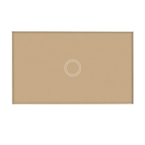 US / AU Parâmetro Padrão De Tocha De Parede Impermeável Retardante de Incêndio Alto Sensível Painel de Cristal de Luxo Sensível a Painel Painel de Chamada Táctil Single Fire Wire 2 Gang Champagne Painel de Ouro Automação Doméstica