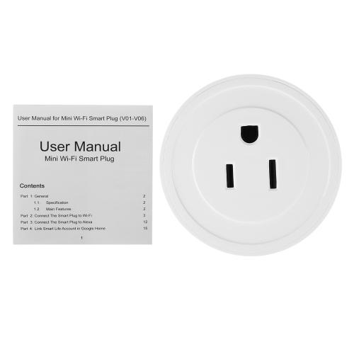 1 Pack Wi-Fi Wireless Mini Smart US Plug Compatível com Amazon Alexa e para o Google Home / Nest IFTTT para TP-Link