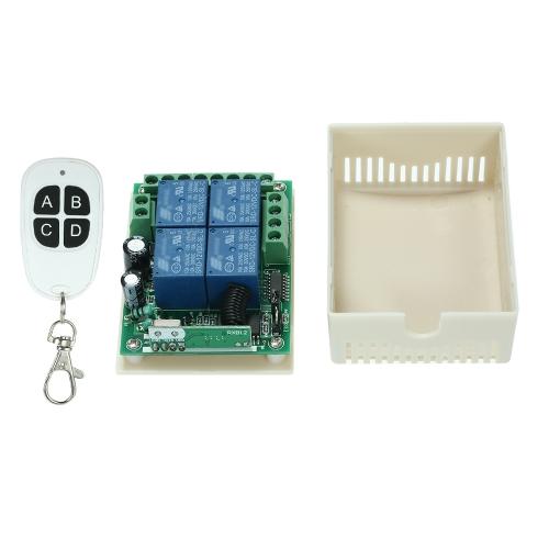 433Mhz DC 12V 4CH Uniwersalny przekaźnik Bezprzewodowy moduł zdalnego sterowania RF Przełącznik odbiornika i 1 SZTUK 4 Klucz RF 433 Mhz Nadajnik Kod stały (2262 Chip) Piloty Smart Home Automation