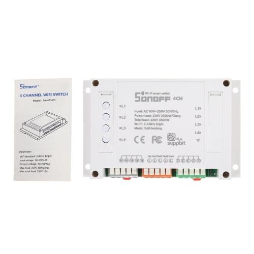 SONOFF 4チャンネルDINレール取り付けWiFIスイッチユニバーサルワイヤレススマートスイッチ