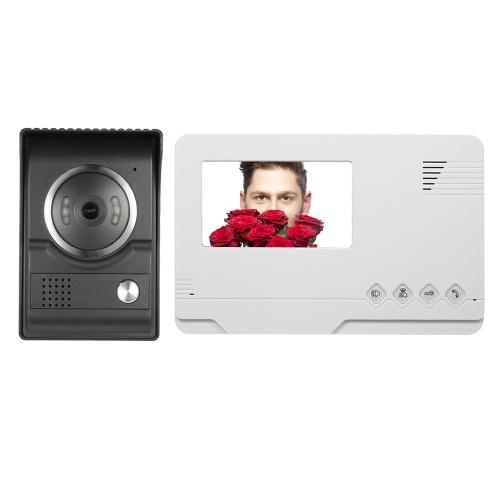 Moniteur d'intérieur de sonnette vidéo couleur filaire TFT de 4,3 pouces