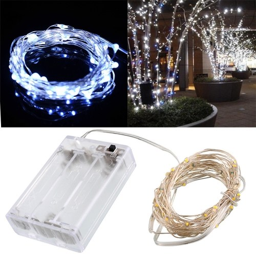 Uchwyt do przezroczystej baterii LED Dekoracja zewnętrzna Festoon Party Christmas Tree Garden Yard Fence Lamp