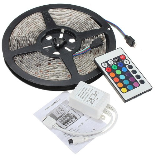 5M 5050 RGB 300 LED Strip Light Non-Waterproof Remote Controller