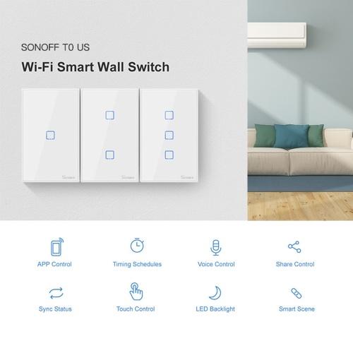 SONOFF T0US1C-TX 1 Gang Smart WiFi Interruttore applique da parete APP / Touch Control Timer Smart Switch pannello standard US Compatibile con Google Home / Nest & Alexa