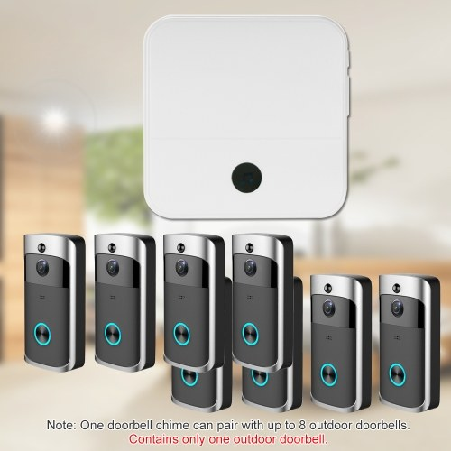Smart HD 720P Wireless Video Intercom WI-FI Video Door Phone Visual Door Bell WIFI Doorbell Camera for Apartments IR Alarm Wireless Security Camera with Plug-in Chime Black