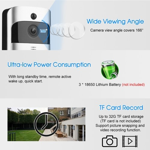 Smart HD 1080P Wireless Video Intercom WI-FI Video Door Phone Visual Door Bell WIFI Doorbell Camera for Apartments IR Alarm Wireless Security Camera with Plug-in Chimes Silver