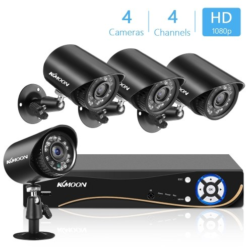 1080P Home Security Camera 4CH Surveillance DVR+4pcs 2MP Full HD Indoor Outdoor Weatherproof Camera With Night Vision Support Motion Detection Remote Access(No Hard Drive)