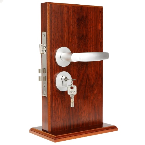 Space Aluminum Modern Design Wood Door Lock Interior Handle Double Latch Bathroom Bedroom Turn Button 3 Keys