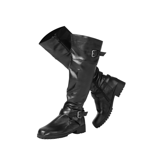 Botas redondas de media pantorrilla con punta de mujer Botas redondas de caballero con media punta de hebilla Sra. Square Buckle Zapatos de tacón bajo Zapatos de tacón