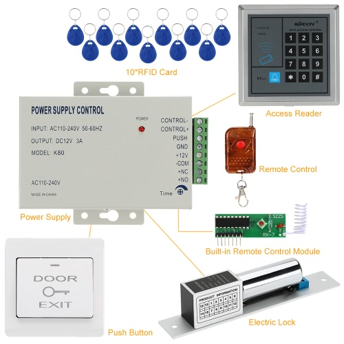 KKmoon® DC12V 125KHz Door Entry Access Control System with Access Reader +  Electric Lock + Power Supply + Push Button + 1*Remote Controller + 10*RFID