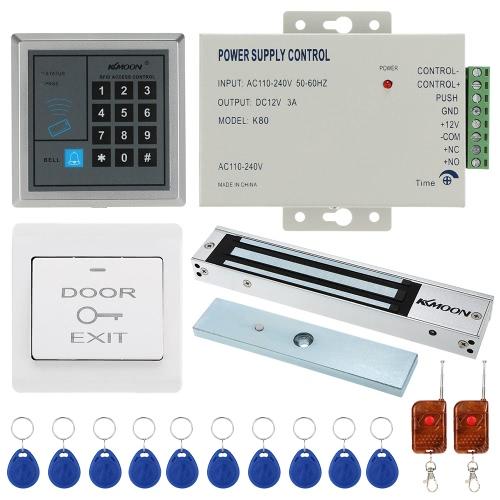 KKmoon® DC12V 125kHz Tür Eintrag Access Control System mit Zutrittsleser + 280KG Elektro-Magnet-Verschluss + Stromversorgung + Push Button + 1 * Fernbedienung + 10 * RFID-Karte