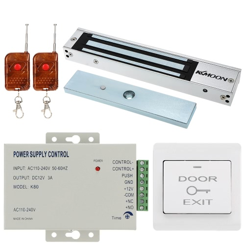 KKmoon® DC12V Tür Eintrag Access Control System mit 280KG Elektroschloss + Stromversorgung + Push Button + 1 * Fernbedienung Ausfallen sicher NC Power Off Entsperren