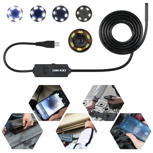 owsoo  2.0 megapixels hd 6 leds 8mm 720p endoscope ip67 waterproof inspection borescope usb wire 2m