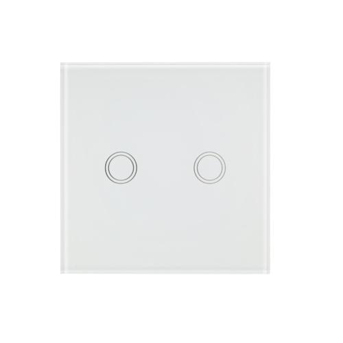 EU / UKウォールタッチスイッチ防水難燃剤省エネルギー高感度ラグジュアリーガラスパネルタッチスクリーンシングルファイアワイヤー1ギャングホワイトパネルホームオートメーション